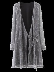 Glitter Sequines Wrap Mini Vestido - Gris Oscuro M