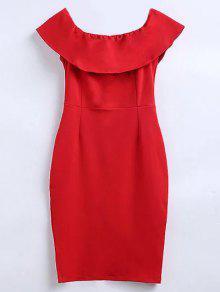 قبالة الكتف كشكش الشق اللباس العمل - أحمر M