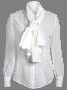 Buy Bow Tie See-Through Blouse - WHITE L
