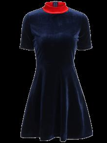 Fitting Velvet Swing Dress - Cadetblue M