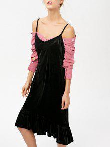 Frilled Velvet Cami Dress - Black M