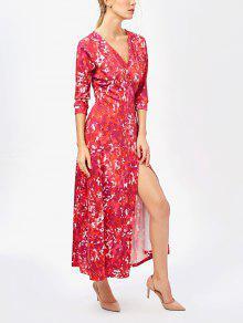 Printed High Slit Wrap Maxi Dress - Red M