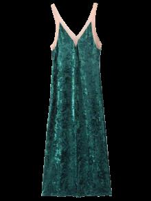 Front Slit Crushed Velvet Maxi Tank Dress - Deep Green