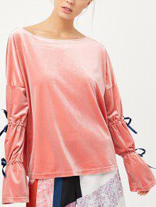 Boat Neck Split Sleeve Velvet Top - Pink Xl