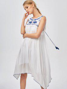 Hanky Hem Embroidered Bohemian Dress - Blue And White Xl