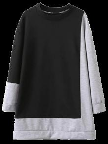 Two Tone Oversized Sweatshirt Dress - Black And Grey L