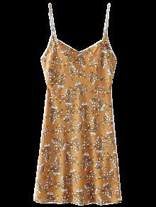 Robe Florale à Bretelles - Ocre Jaune L