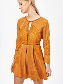 Lace Insert Cut Out Long Sleeve Dress - Ginger Xl