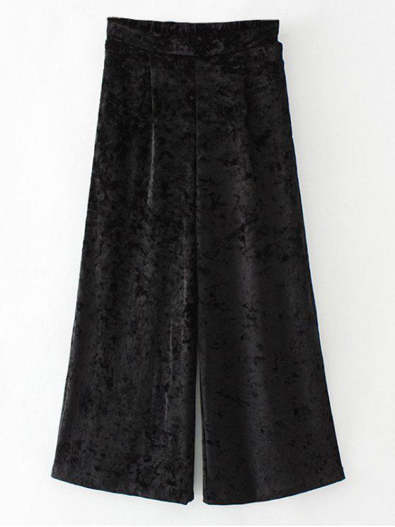 lady Loose Velvet Wide Leg Pants - BLACK S
