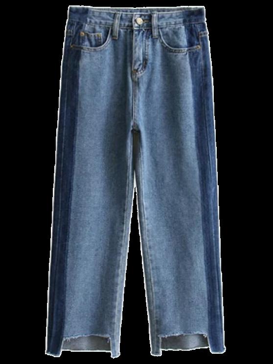 sale Frayed Mom Fit Jeans - DENIM BLUE M
