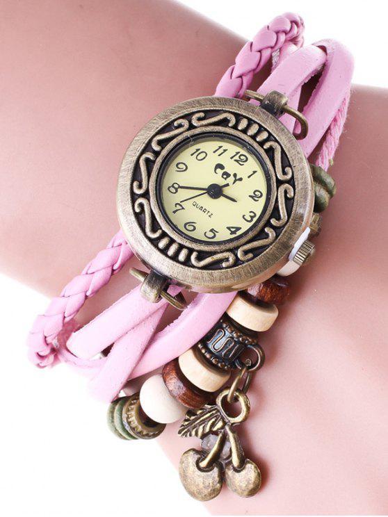 Geflochtene-Kette-Armband-Uhr - Pink