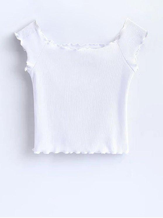 Volantes de hombro Off Crop Top - Blanco S