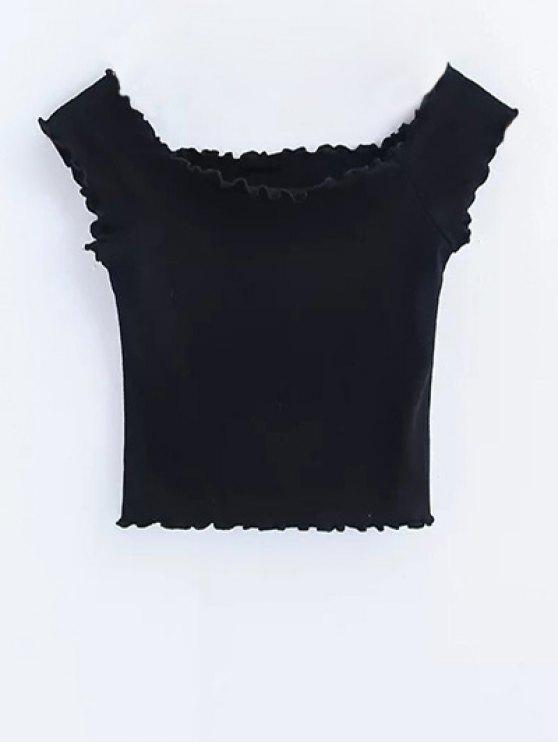 sale Off Shoulder Ruffles Crop Top - BLACK M