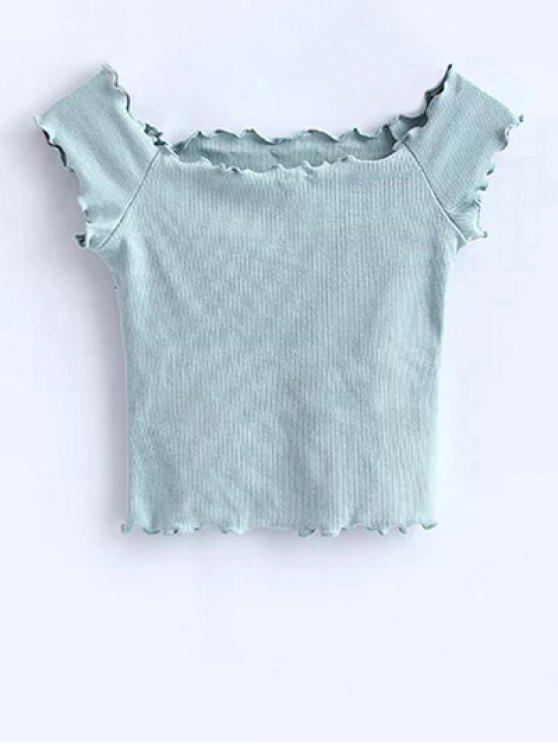 T-shirt court à épaules tombantes avec décoration de falbalas - Vert Clair M