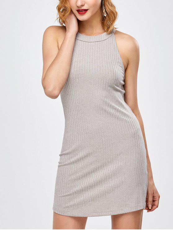 sale Lace Up Backless Bodycon Dress - LIGHT GRAY M