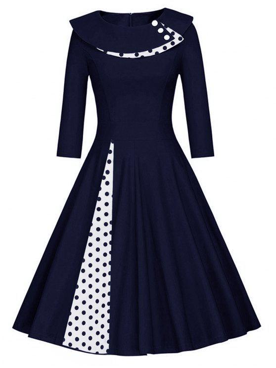 Vestido Línea Plisado Lunares Purplish Blue Black