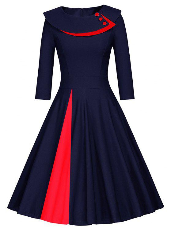 Pleated Color Block Line Dress - PURPLISH BLUE XL