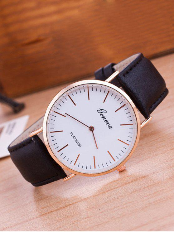ساعة يد من الجلد الصناعي بسوار من الجلد - أسود