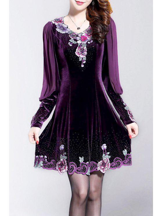 Robe de velours patineuse à manches longues brodée - Violet Foncé 3XL