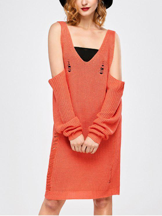 women Distressed Cold Shoulder Chunky Sweater Dress - ORANGE RED M