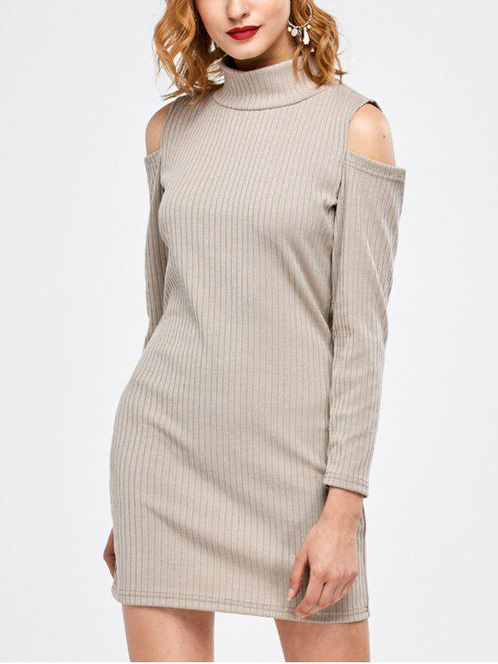 new Mock Neck Cold Shoulder Fitted Knitted Dress - LIGHT GRAY S