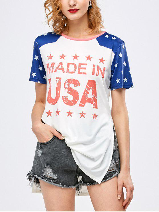 lady Side Slit Graphic Star Tunic T-Shirt - WHITE M