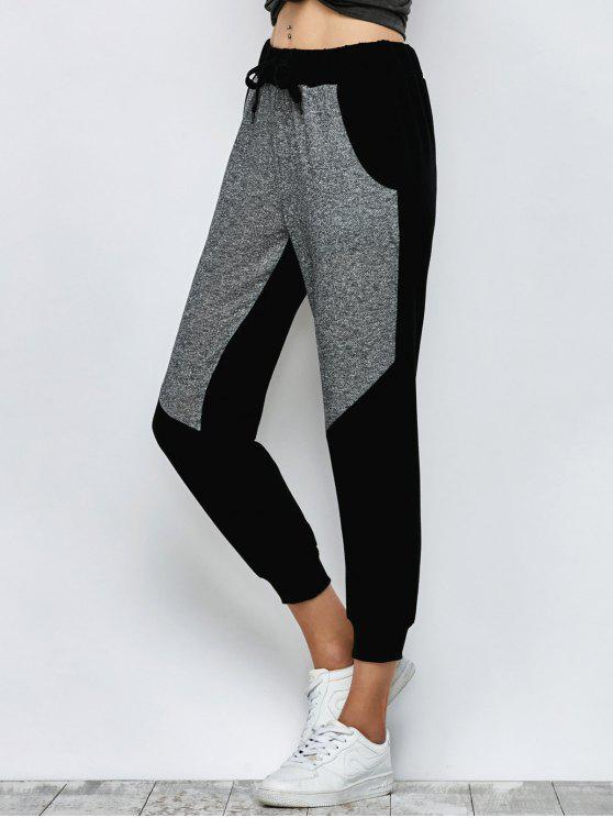 sale Color Block Heathered Sporty Pants - BLACK M