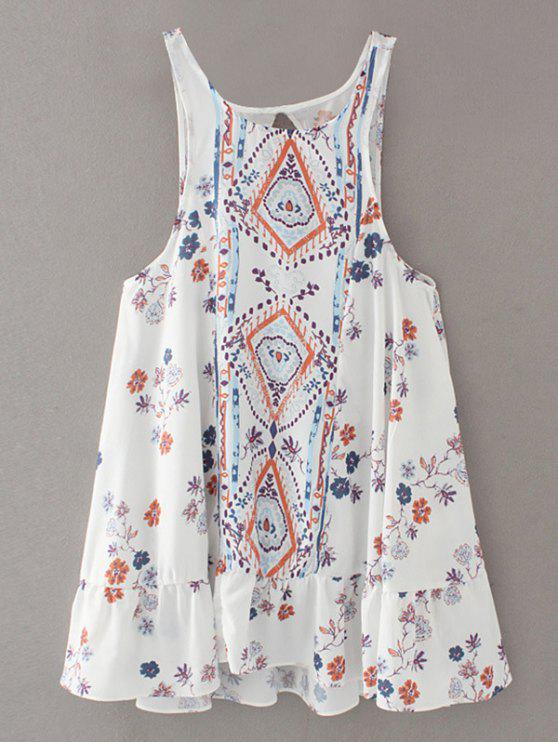 Vintage impresión mini vestido - Blanco M