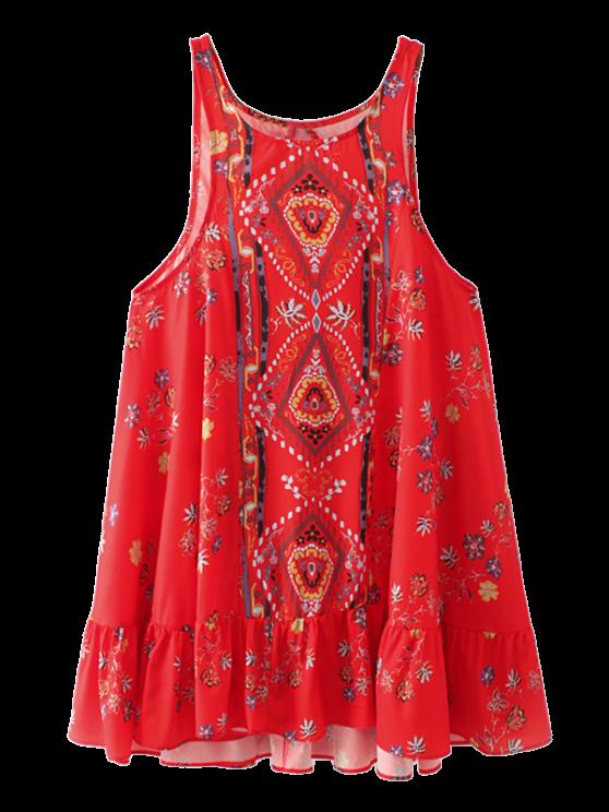 Vintage impresión mini vestido - Rojo L