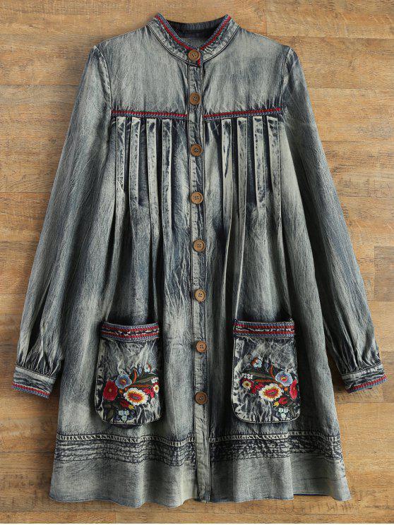 trendy Denim Round Neck Long Sleeve A Line Dress - BLUE M