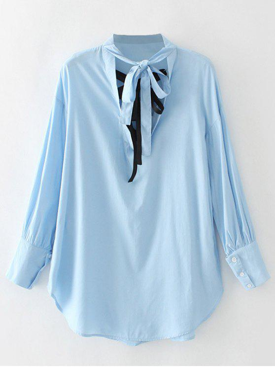 outfit Cut Out Bowknot Blouse - BLUE S