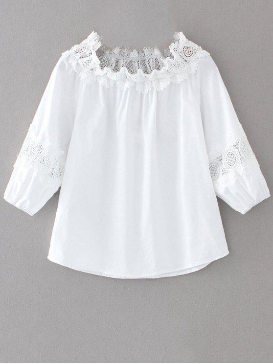 best Off The Shoulder Lacework Blouse - WHITE L