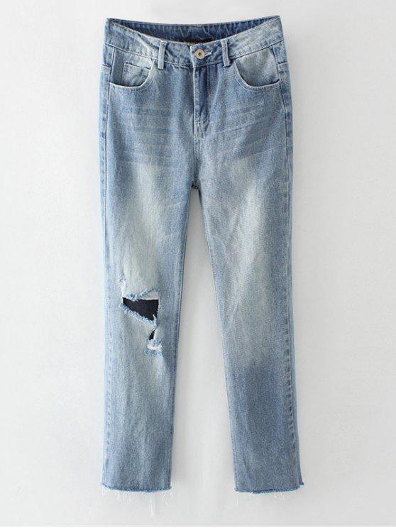 women Ripped Narrow Feet Pencil Jeans - BLUE GRAY L