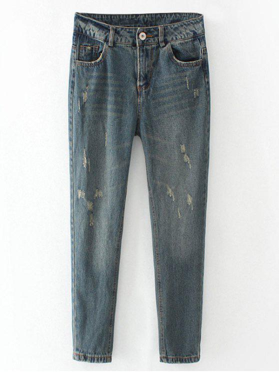 best Frayed Broken Hole Pencil Jeans - BLUE GRAY M