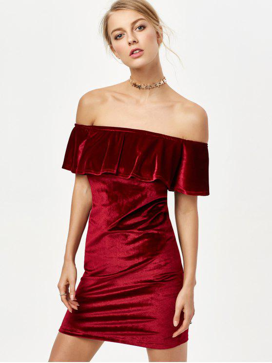 trendy Off The Shoulder Velvet Bodycon Dress - BURGUNDY M