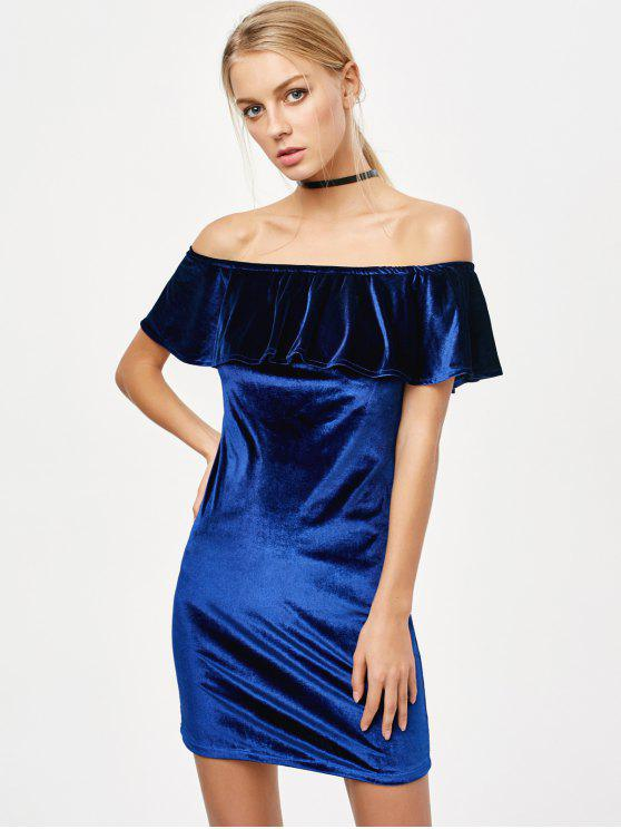 fancy Off The Shoulder Velvet Bodycon Dress - ROYAL M