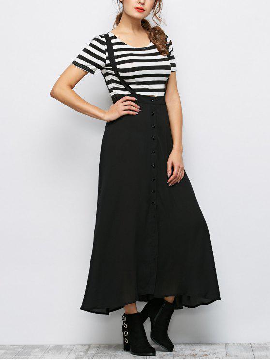 online Button Front Maxi Braces Skirt - BLACK M