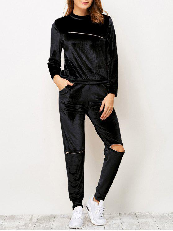 fashion Zippers Velvet T-Shirt and Sports Pencil Pants - BLACK L