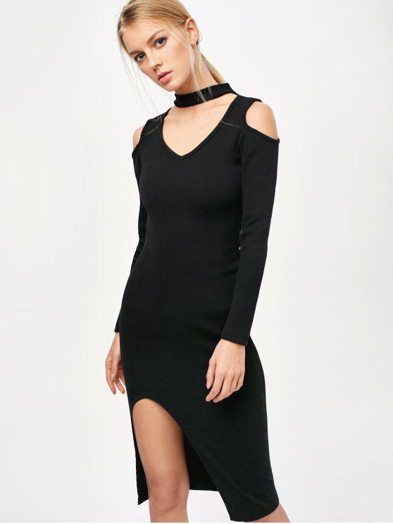 Cold Shoulder Gargantilla Vestido ajustado - Negro Única Talla