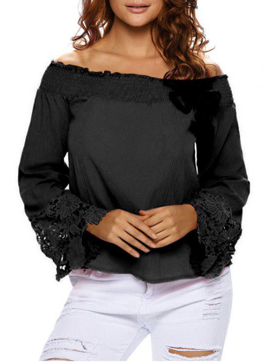 sale Lace Cuff Off The Shoulder Blouse - BLACK S