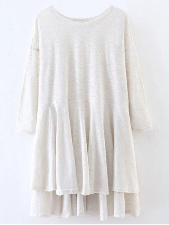 outfit Slit High Low Long Smock T-Shirt - WHITE L
