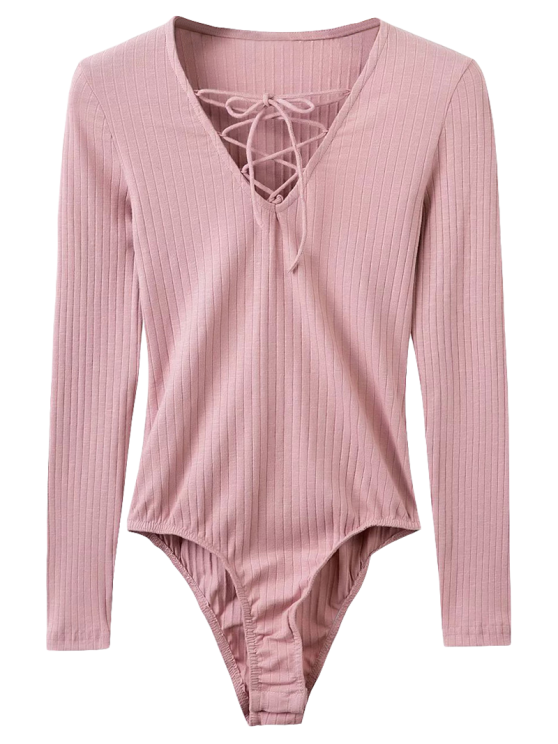Lässige Lace-Up Bodysuit - Pink M