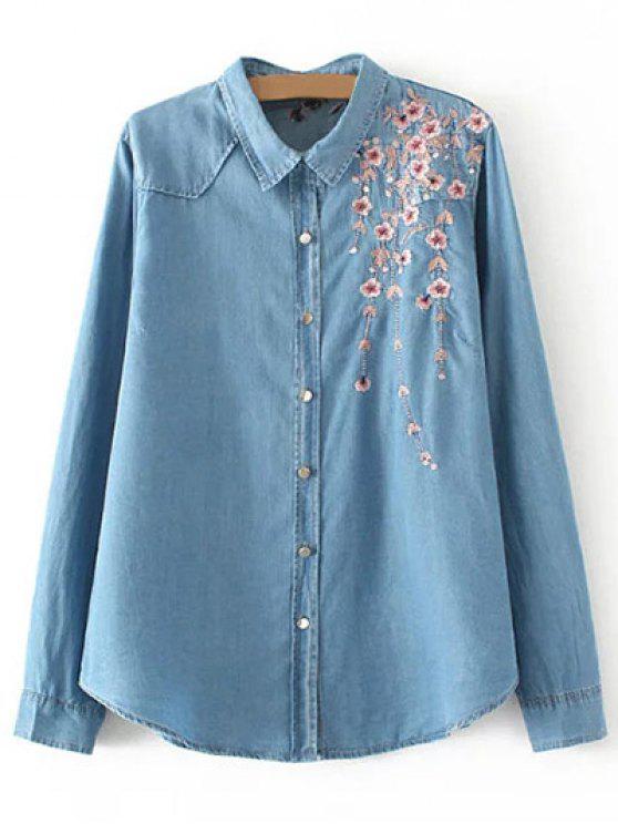 hot Palm Blossom Embroidered Plus Size Denim Shirt - DENIM BLUE 2XL