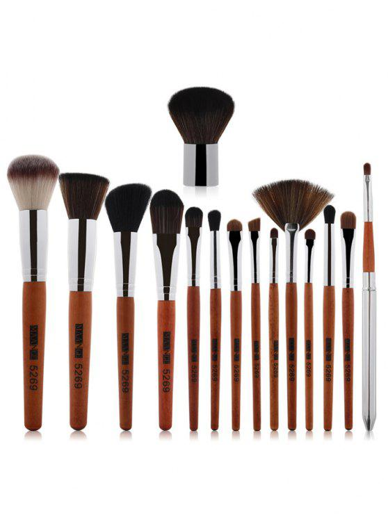new 15 Pcs Portable Makeup Brushes Set - SILVER