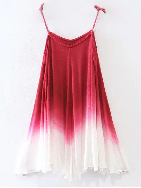 fancy Ombre Trapeze Slip Dress - RED L
