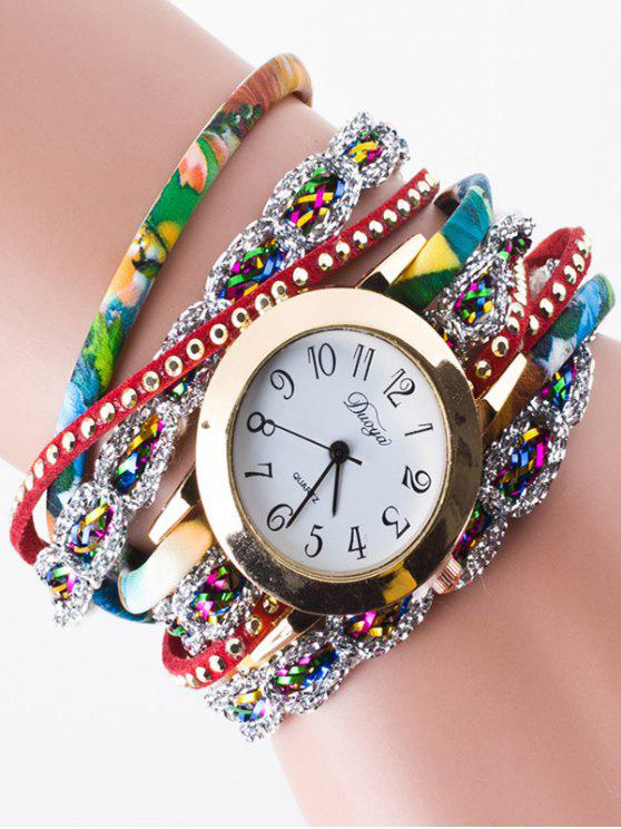 Strass-Verpackungs-Armband-Uhr - Rot