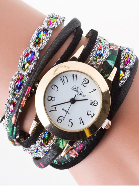 Rhinestone envoltório pulseira relógio - Preto