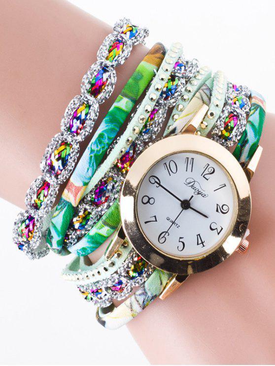 Reloj de Pulsera Diamante de Imitación con Remanche Cuero de Imitación - Verde