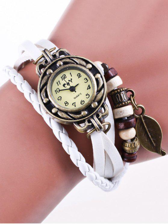 Reloj Brazalete Tiras Cuero Sintético - Blanco