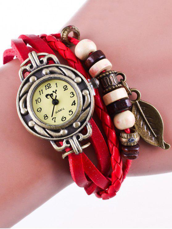 Kunstleder-Strang-Armband-Uhr - Rot